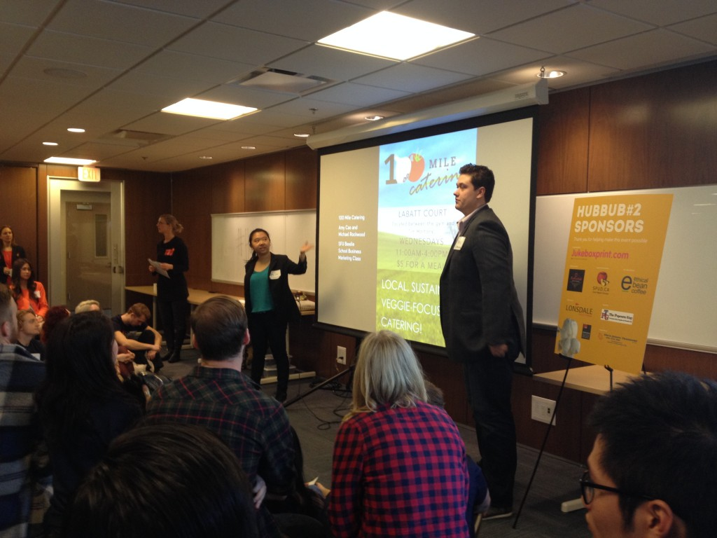 Students presenting at HUBBUB conference, Vancouver City Hall